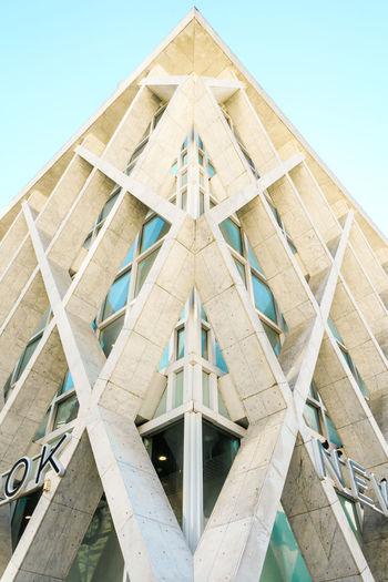 Low Angle View Built Structure Architecture Building Exterior Shape Geometric Shape Pattern Design Triangle Shape Directly Below Tall - High Modern Building Canon Paris La Defense France Paris LINE Triangle