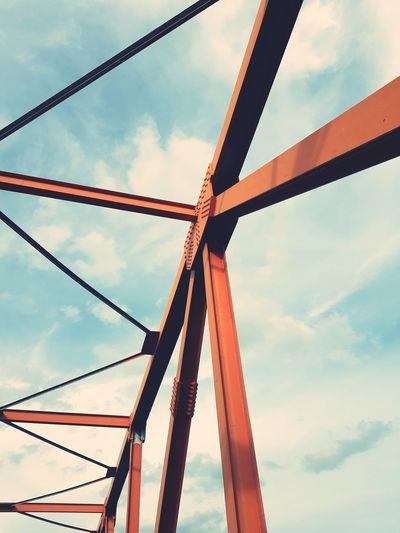 Cloud - Sky Sky Day Bridge Frame Bridge - Man Made Structure Outdoors Iron - Metal No People Red City Bridge