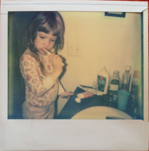 Brushing My Teeth Polaroid Children Real Polaroid