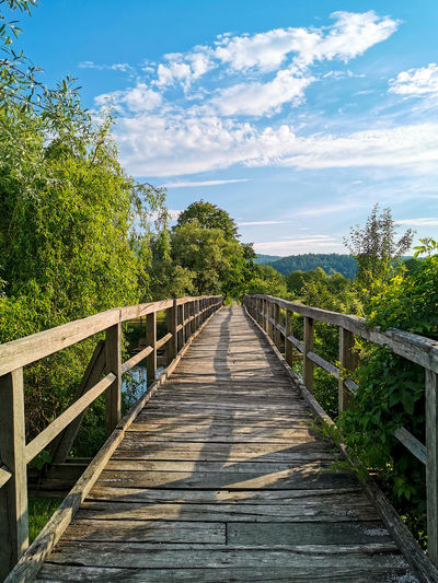 Old wooden footbridge, spring, green, direction, diminishing perspective.