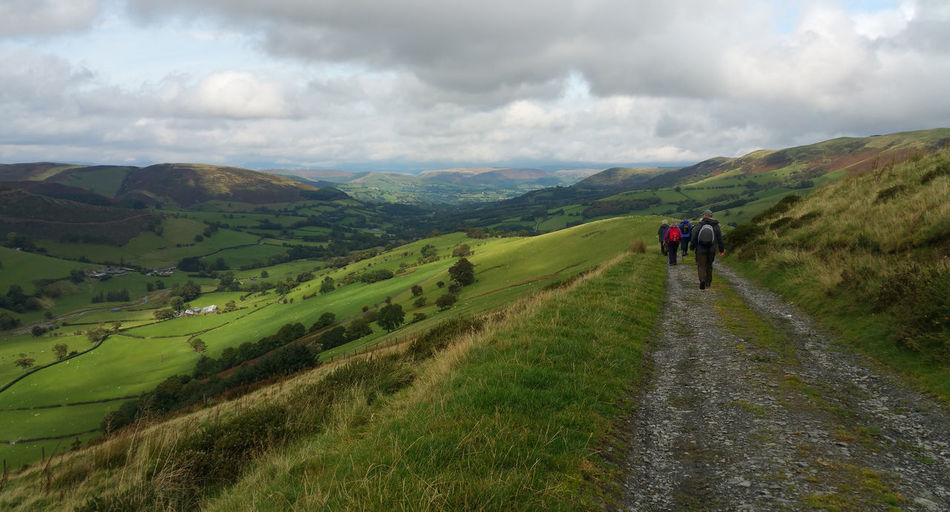 Walkers in a valley Wales UK Activity Adult Beauty In Nature Cloud - Sky Day Environment Grass Group Of People Hikers Hiking Land Landscape Leisure Activity Mountain Mountain Range Nature Non-urban Scene Outdoors People Rear View Scenics - Nature Sky Walkers Walking