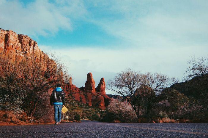 Discovery mode: ON Bluesky Journey Man Nature Road Rocks Sedona Walking