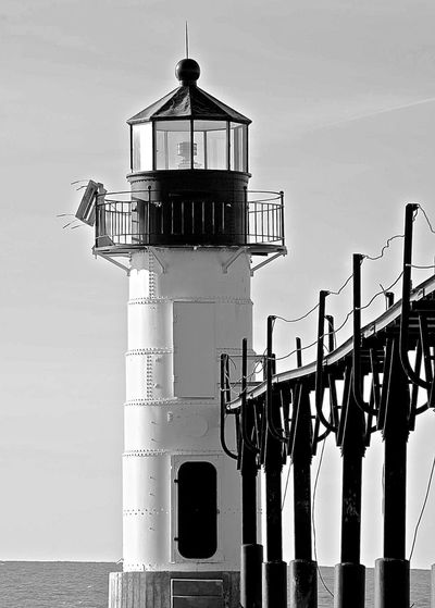 Black & White Lake Michigan Michigan St. Joseph, Michigan Architecture Building Building Exterior Built Structure Day Direction Guidance Lighthouse Nature No People Outdoors Protection Railing Safety Sea Security Sky St. Joseph Lighthouse Tower Water