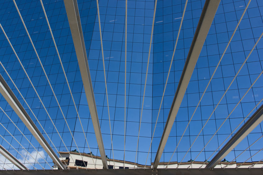 Expansion Lines Architecture Blue Built Structure Clear Sky Day Expansion Indoors  Julhofragaphotography Lines Low Angle View Modern No People Pattern Sky