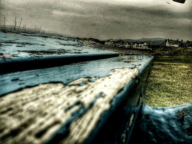 Borth, Wales Blue Paint Decay Village Life Under A Welsh Sky Skyporn Seagull Old Bench Bench Hdr Edit