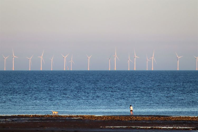 Wind turbines by sea against sky