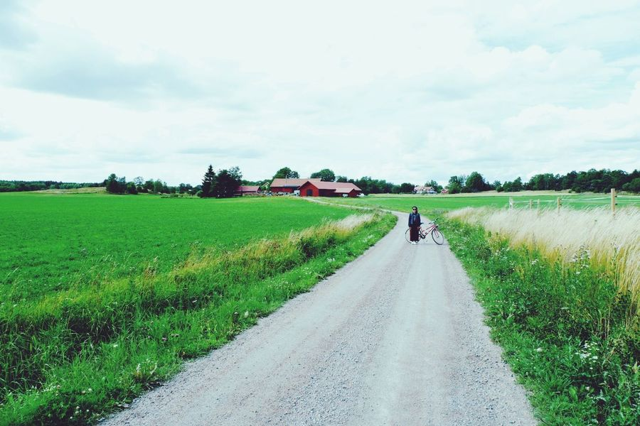 Agriculture Field Farm Rural Scene One Person Road People Nature Outdoors The Way Forward Growth Cloud - Sky Adult Day Farmer Full Length One Man Only Sky Adults Only Grass PenpakA