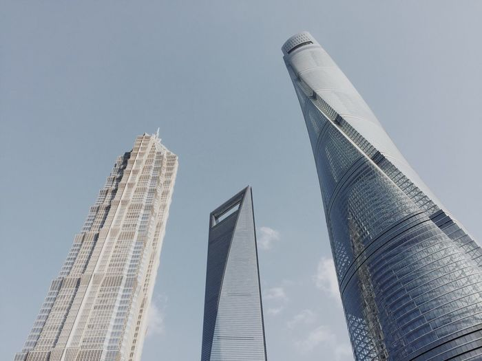 Architecture Low Angle View City Skyscraper Building Exterior Built Structure Tall - High Tower Clear Sky Modern Modern Architecture Shanghai