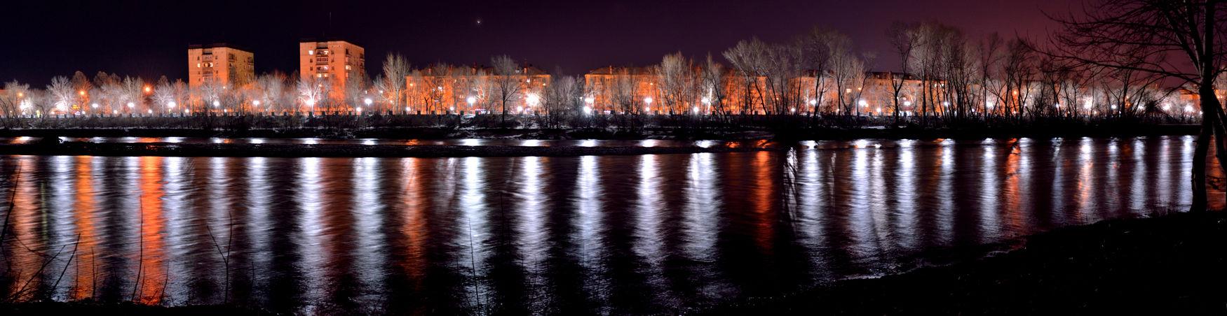 ulba river River Panoramic Photography Night River D610 Long Exposure Illuminated Reflection Sky