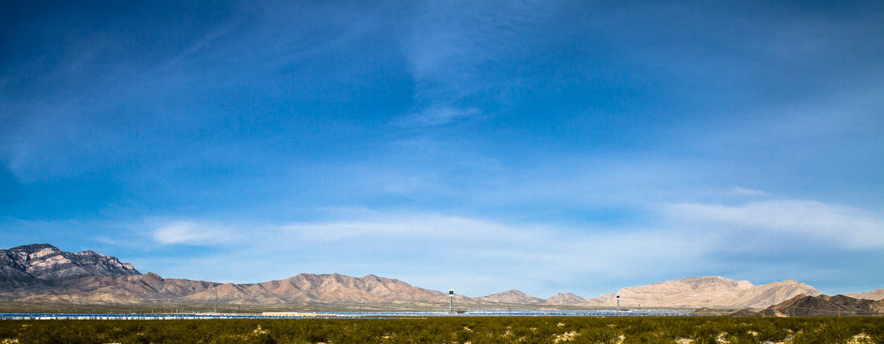 Geology Hill Horizon Over Land Ivanpah Concentrated Solar Power Plant Landscape Majestic Mountain Mountain Range Nature Non-urban Scene Outdoors Physical Geography Remote Scenics Solar Power Tranquil Scene Tranquility