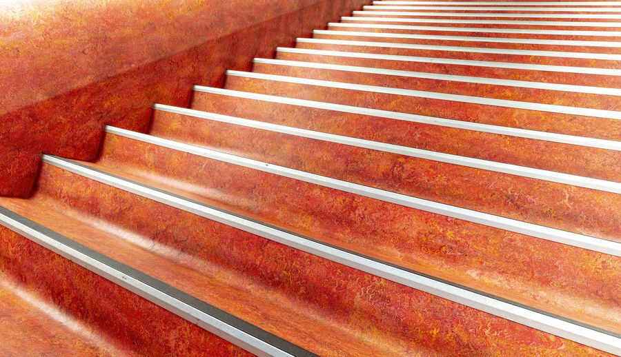 Architecture Diminishing Perspective Indoors  No People Pattern Red Staircase Steps And Staircases Striped