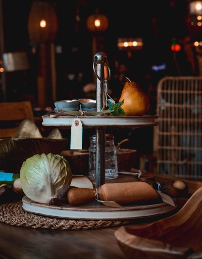 View of fruits and coffee on table in restaurant