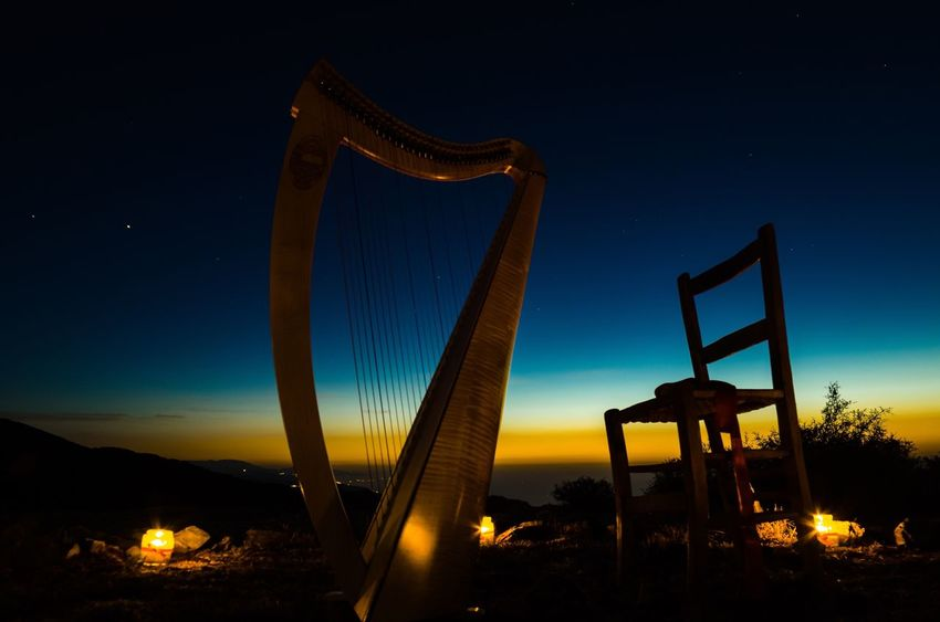 Musical Instrument Nikonphotography Nikon Arpa Illuminated Sky Night Nature No People Outdoors Low Angle View Sunset Built Structure Beauty In Nature
