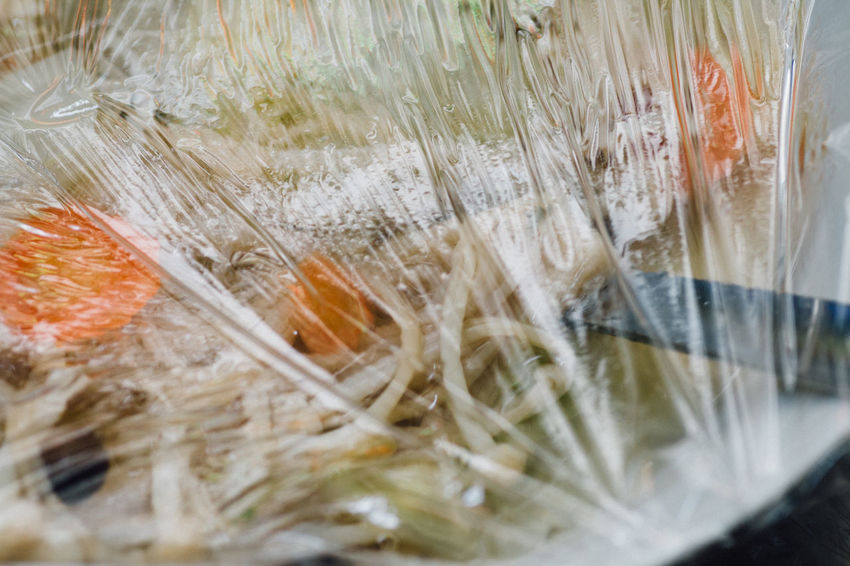 Bowl Carrot Chinese Cabbage Cling Film Close-up Cooking At Home Covered Covering Daily Life Enoki Mushrooms Food Food Photography Freshness Indoors  Kitchen Left Overs Leftovers Mealtime Plastic Film Reflection Saran Wrap Soup Spoon Still Life White Cabbage