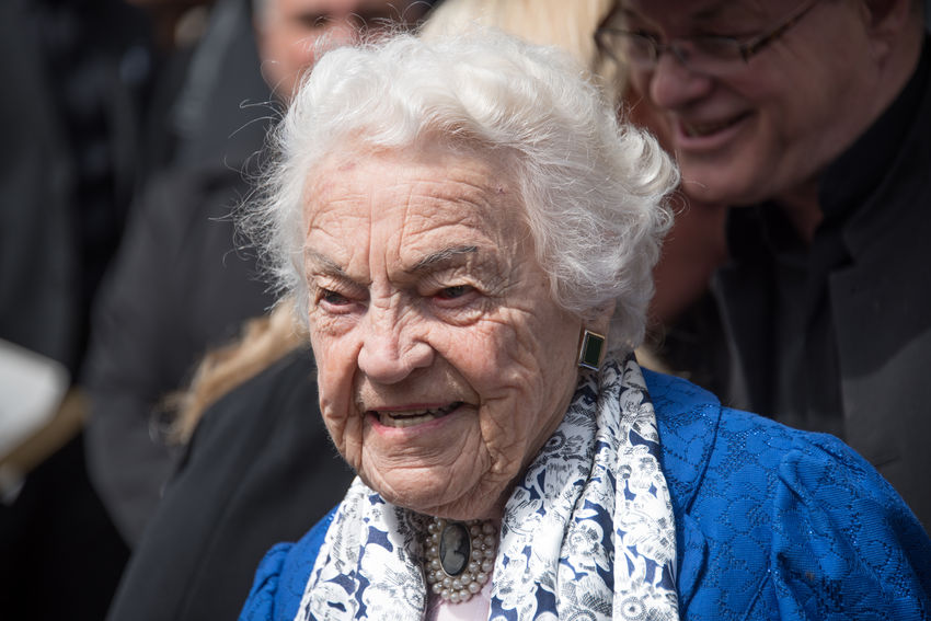 Hazel McCallion during Rob Ford funeral march and ceremony. He was a former Toronto Mayor who lost the fight with cancer and passed away at 46 years old Ceremony City Dead Death Demonstration Fight Against Cancer Former Funeral Many March Mayor Morning People Personality  Rob Ford St. James Cathedral Supporters Toronto Urban Walking