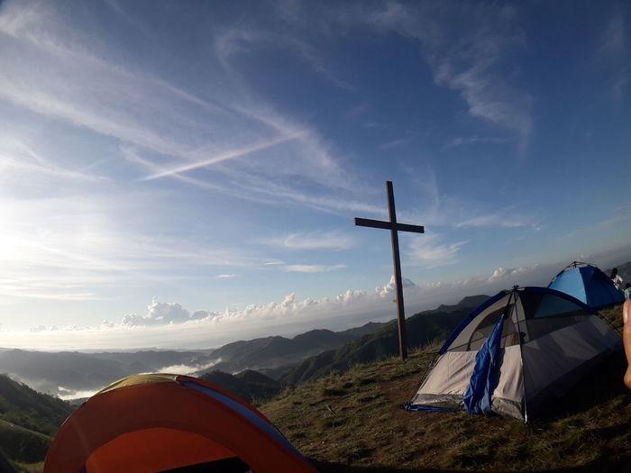 """Tent over the Mountain"" Mountain Tent Blue Adventure Camping Mountain Peak Sky Landscape Mountain Range Cloud - Sky"