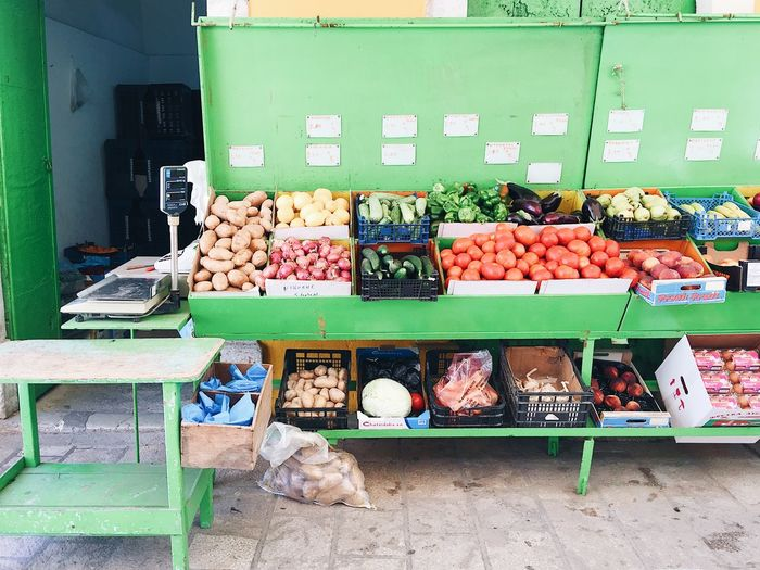 Vegetables and fruits market shelf Diet Eating Market Choice Day Drinking Eco Food Eco Project Food Food And Drink For Sale Freshness Fruits Healthy Eating Indoors  Large Group Of Objects Market Market Stall No People Price Tag Retail  Store Variation Vegetable Village Market