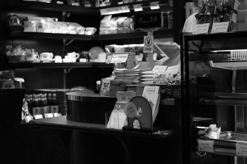 Black And White Cafe For Sale Fujifilm FUJIFILM X-T2 Fujifilm_xseries Indoors  Inoda Coffee Monochrome Retail  Shelf Store Tokyo X-t2 イノダコーヒ カフェ 喫茶店 大丸 東京