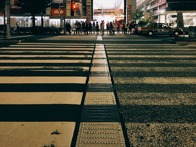 Streetphotography Crossing The Street Shot On IPhone 6s Tokyo Night IPhoneography Stripe Tokyo Life I Love My City Learn & Shoot: Leading Lines