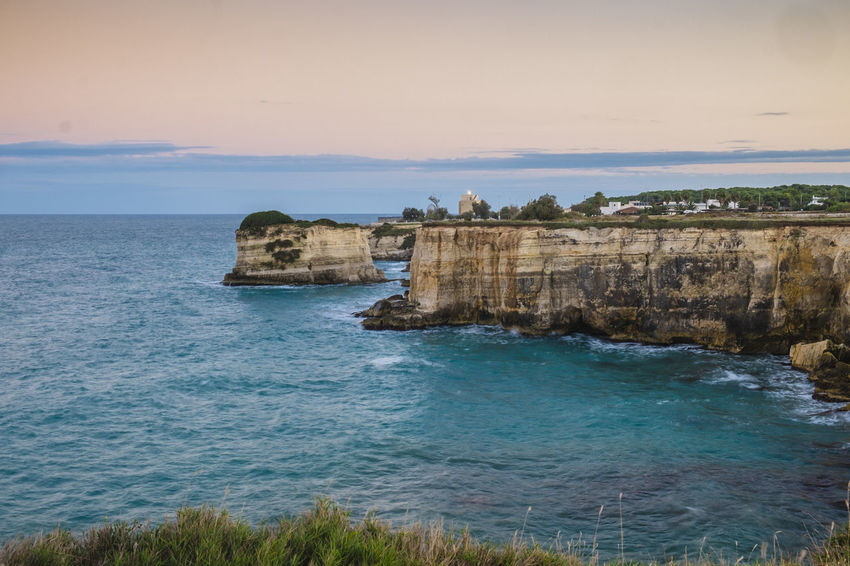 Architecture Beauty In Nature Coast Cultures History Horizon Over Water Idyllic Italy Nature No People Outdoors Rock Formation Rocky Coast Rocky Coastline Salento Scenics Sea Tourism Tranquility Travel Travel Destinations Travel Photography Traveling Vacations Water