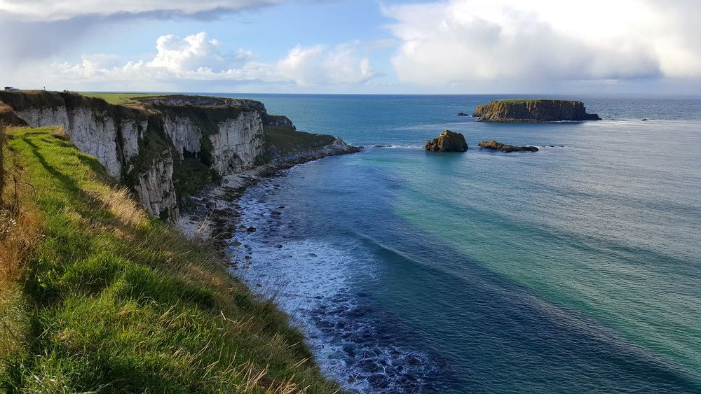 Landscapes With WhiteWall sheep island north antrim Coast
