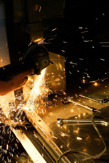 Car Close-up Mill Sparks Tools, Worker