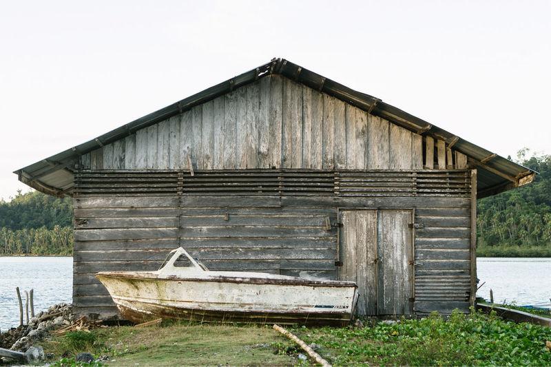 Boathouse Against Clear Sky