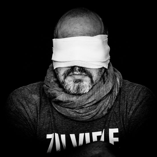 Current mood. Blindfolded Man Self Potrait Black Background Individuality Self Portrait Experiments