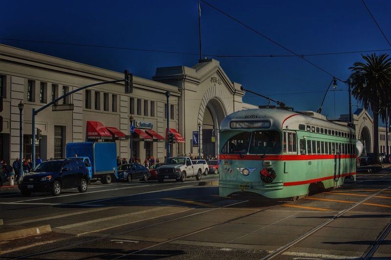 Transportation Mode Of Transport Built Structure City Architecture Land Vehicle Stationary Building Exterior Sky Public Transportation Check This Out From My Point Of View San Francisco Pier31 City Life Cityscape Street Photography Outdoors No People Day
