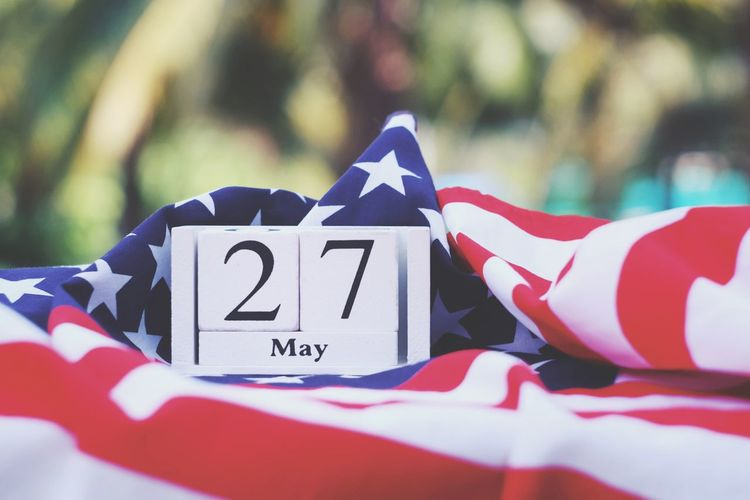 Wooden calendar and american flag Liberty Cheerful Greeting Celebrate Army Soldier Memory Holiday Peaceful Peace Pride Country Nation America USA Event Memorial Day Anniversary Independence Patriotism Flag Memorial Remember Celebration Emblem