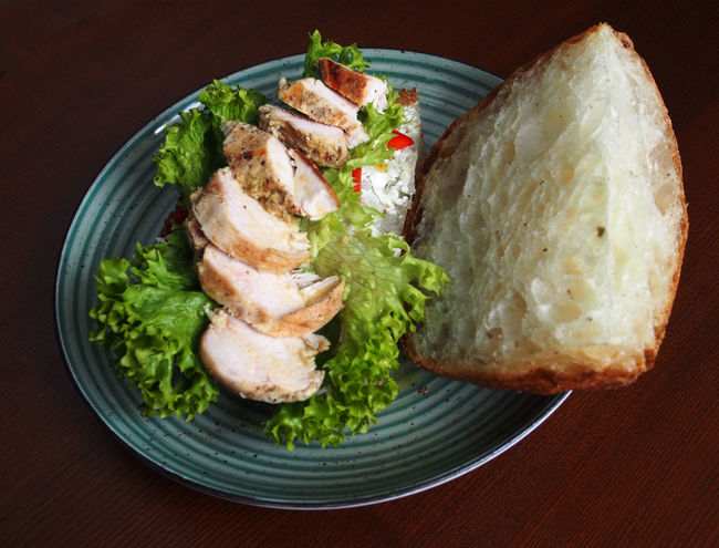 Chicken fillet with salad and white bread. Chicken Fillet Close-up Day Food Food And Drink Freshness Healthy Eating High Angle View Indoors  No People Plate Ready-to-eat Sandwich Seafood Serving Size White Bread.