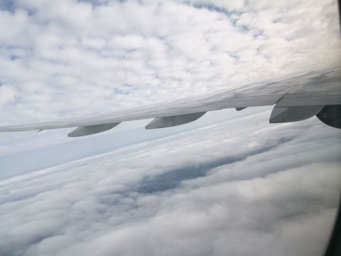 Sky And Clouds China Guangzhou Airplane Wing Flying Travel