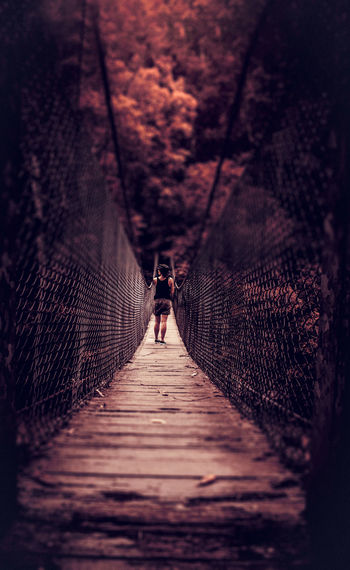 The Way Forward Real People Leisure Activity Outdoors Full Length One Person Nature Bridge Contemplative Pause Silence Journey Autumn Fall Colors Bridge - Man Made Structure Suspension Bridge Stop National Park EyeEmNewHere Long Goodbye Rewilding