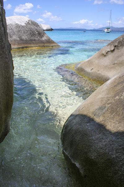 Beach Blue Sky Boulder British Virgin Islands Idyllic Rock Formation Rocks Sea The Baths Tranquil Scene Turquoise Water Blue Wave The KIOMI Collection