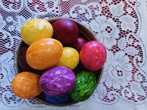 Colorful eggs 🥚... Mood Celebration Easter Eggs Bowl ShotOnIphone Pattern Background Healthy Healthy Food Food Festive Colorful Multi Colored Food Easter Egg Easter Food And Drink Still Life Celebration Egg High Angle View Freshness Indulgence Temptation Close-up Variation Holiday No People Choice Directly Above