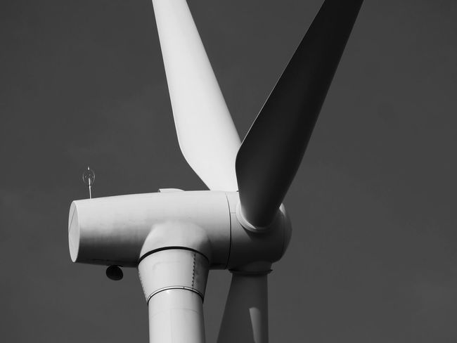 Wind Turbine Wind Power Airplane Blackandwhite Blackandwhite Photography Close-up Day No People Outdoors Sky Technology
