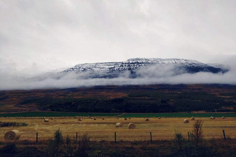 Iceland Landscape September Countryside Snow Covered