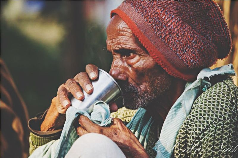 My Favorite Photo sipping on life motives. Banaras India Village Rural Travel Travel Photography Tea Farmer Hope Stress Man Wrinkles Old Traveldiaries Placesinindia The Photojournalist - 2016 EyeEm Awards Feel The Journey