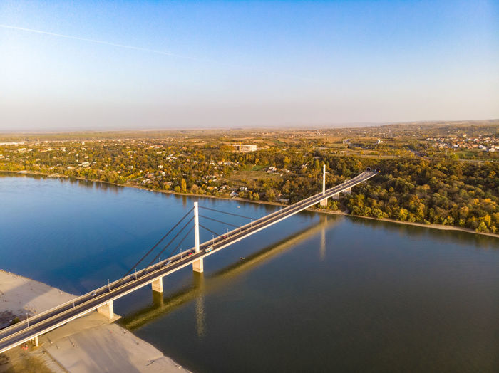 Architecture Built Structure Sky Water City Building Exterior Connection Nature Transportation Bridge Bridge - Man Made Structure No People Cityscape River Day High Angle View Clear Sky Outdoors Aerial View Novi Sad Novisad Danube Danube River