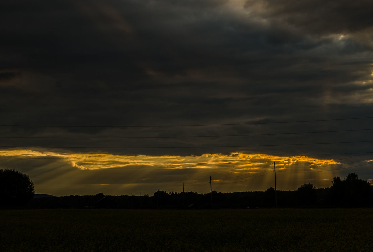 SCENIC VIEW OF DRAMATIC SKY OVER FIELD