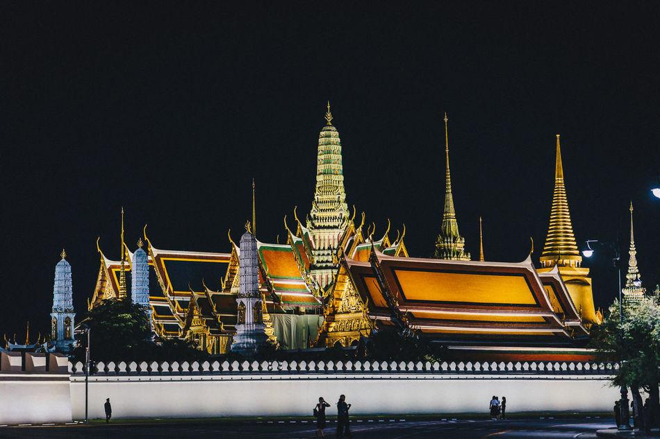 Bangkok Thailand. Emerald Buddha Temple Tampleofthailand Building Exterior Illuminated Night Place Of Worship Temple Tourism Travel Destinations