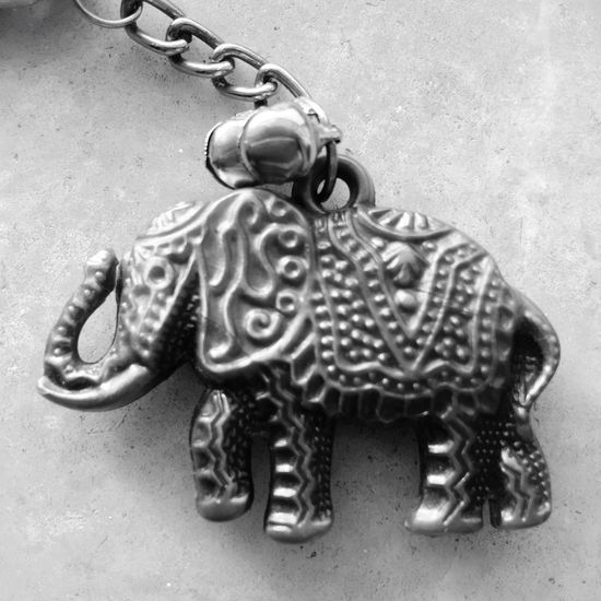 Surface Level White Background No People Studio Shot Man Made Object Blackandwhite Keychain Elephant