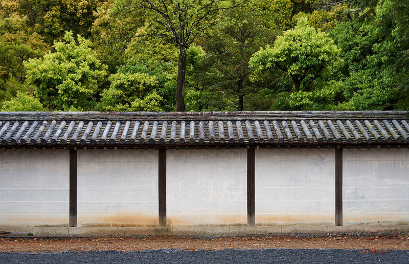 Old japanese temple wall by trees and plants