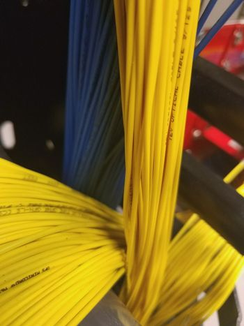 Yellow Close-up Vibrant Color Extreme Close-up Technology Wired World Fiber Optics Plugged In Arrangement In A Row