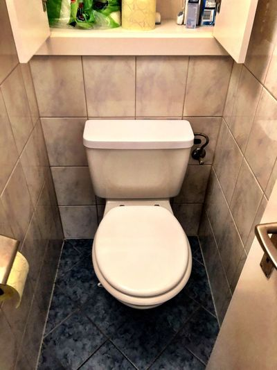 Still Life EyeEm Selects Bathroom Toilet Toilet Bowl Home Domestic Bathroom Hygiene Indoors  Tile Domestic Room Seat Flooring Tiled Floor Convenience Flushing Toilet High Angle View No People Urgency Home Interior