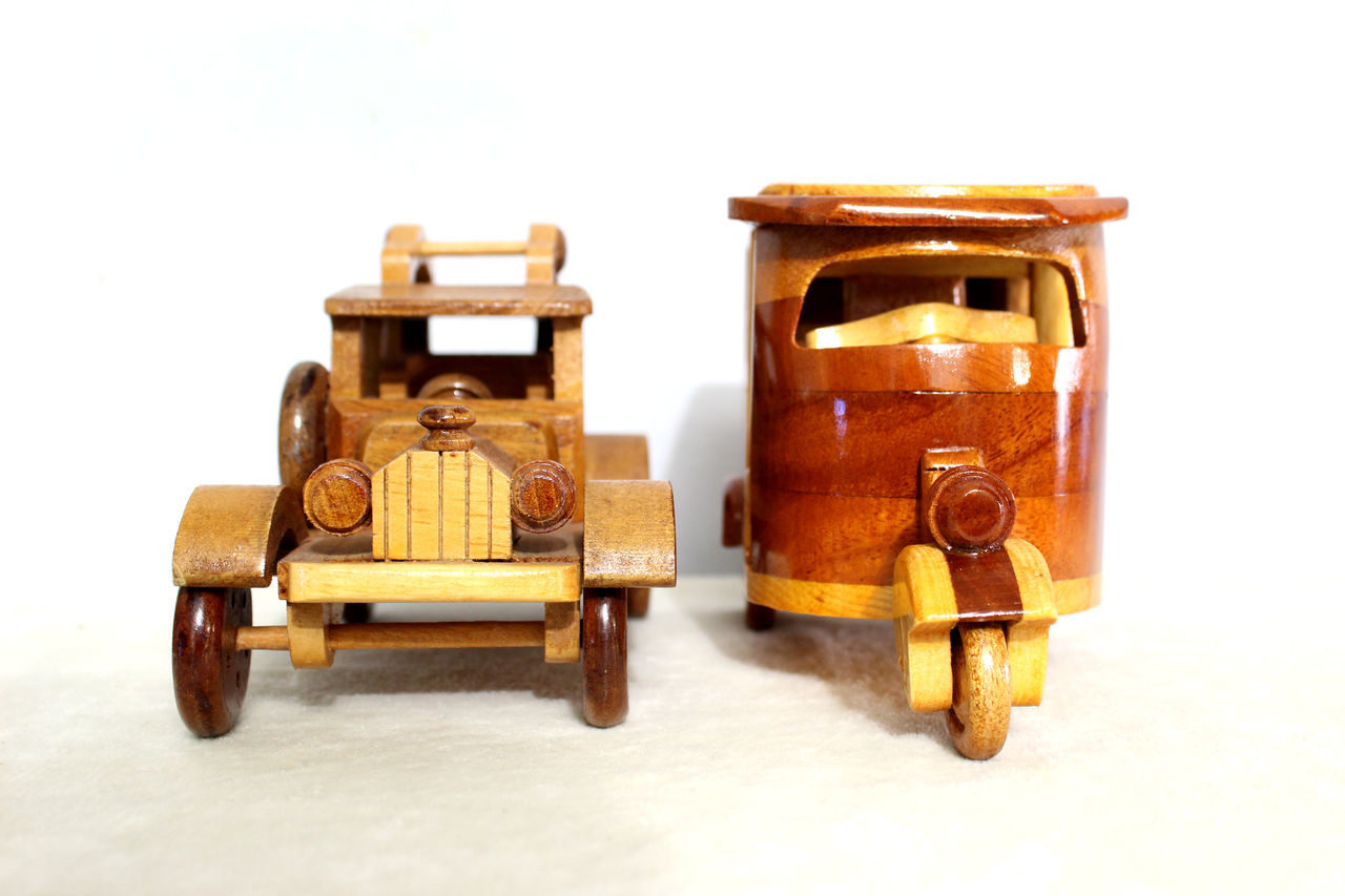 toy, old-fashioned, retro styled, toy car, white background, no people, close-up, studio shot, childhood, indoors, day