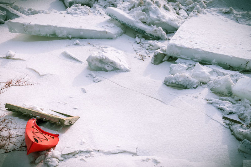 A lost, red Kayak is frozen in river ice. Frozen Ice Kayaking Shades Of Winter Cold Temperature Day Floe Frigid Frigid Temps Kayak Nature No People Outdoor Photography Outdoors Red Color River Snow White Color Winter