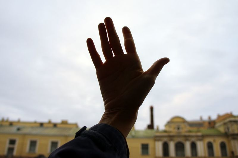 hand in sky Fingers Saint Petersburg No Face Human Hand Silhouette House Sky Architecture Building Exterior Built Structure Close-up Human Arm Hand Raised Streetwise Photography
