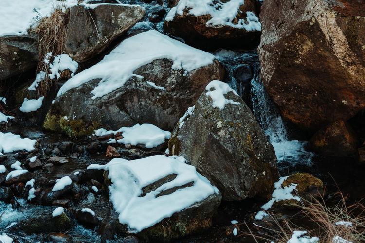 Snow covered rocks on land