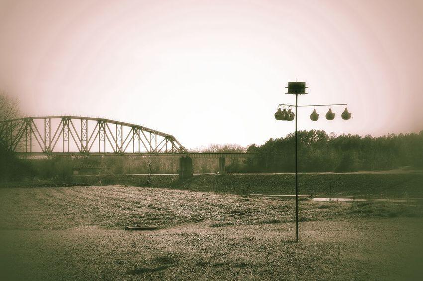 Architecture Bird Houses Bridge Built Structure Clear Sky Engineering Gourds Metal Metallic Outdoors Vignette